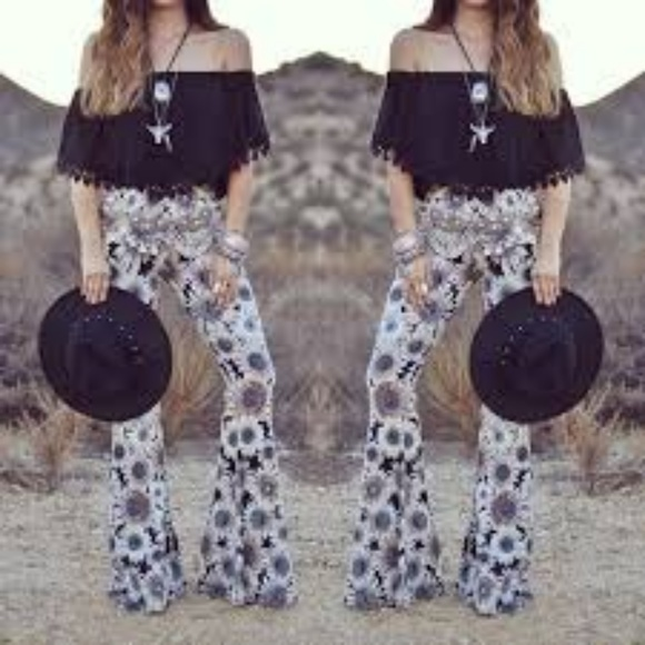 Pants - Floral bell bottoms